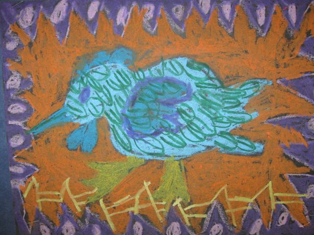 1st grade ---A chicken on a fence, Pastel Drawing